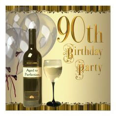Wine Glass Bottle Gold 90th Birthday Party Card