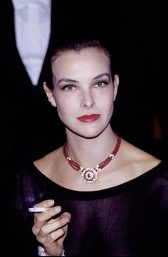 Paris, France - 16 October French actress Carole Bouquet attends a gala for Paloma Picasso's perfume., Get premium, high resolution news photos at Getty Images Charlotte Gainsbourg, Jane Birkin, Karl Lagerfeld, James Bond Girls, Claudine Auger, Women Smoking Cigarettes, Carole, 80s And 90s Fashion, Bouquet