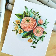 I don't think I ever shared the final Copic colored Beautiful Bouquet: Ranunculus stamp set. I just love this series, and...there is an addition to the family available tomorrow! Beautiful Bouquets: Mums.