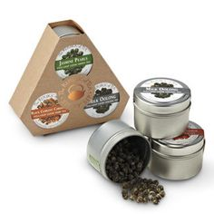 My favorite tea brand - Republic of Tea has sampler tins of loose tea and sampler boxes of wrapped tea bags, choose your own flavors to try. Reasonably priced, compared to full-sized tins, when you are experimenting. Love my loose tea!