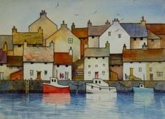 ARTFINDER: Fishing Village by Malcolm Coils - Watercolour using transparent washes and black lines. Sold with double mount and will fit standard 20 x 16 inch frame. Watercolor Architecture, Watercolor Landscape, Landscape Art, Landscape Paintings, Watercolor Paintings, Watercolours, Landscapes, Naive Art, Urban Sketching