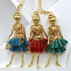 2016 Fashion Jewelry ! Doll Necklace Pendants Charms Free Shipping Women Accessories Female Crystal Beads DIY NS24701