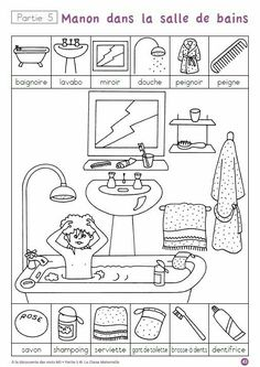 """A la decouverte des mot"" -- ten free printable pages to help children practice hygiene and routine vocabulary in French (""la salle de bains"") via cut-and-paste and other worksheets. Four other sets of worksheets on other themes also available. Educational Activities, Preschool Activities, French Worksheets, French Classroom, Hidden Pictures, French Lessons, Teaching French, Preschool Worksheets, Learn French"