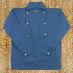 This authentically patterned cotton cavalry shirt from american civil war clothing store is made of dark blue cotton and has a placard front. On top of that is a bib front with brass buttons. Perfect for collectors, re-enactors and history buffs who want durable, well-made copies from a critical time in our nation's history. #civilwarclothes #mencostumes