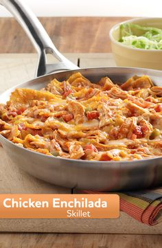 This Chicken Enchilada Skillet recipe is made easy with one-skillet! It's made with torn corn tortillas, rotisserie chicken, zesty tomatoes, and sauce with Mexican cheese.