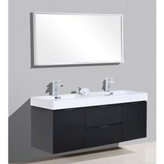 Shop for KubeBath Bliss 59-inch Double Sink Bathroom Vanity. Get free delivery at Overstock.com - Your Online Furniture Outlet Store! Get 5% in rewards with Club O! - 18807451