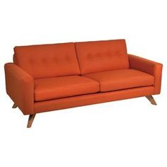 Mid century-inspired sofa with saffron linen upholstery.  Product: SofaConstruction Material: LinenColor: SaffronFeatures: Made in the USADimensions: 37 H x 79 W x 36 D