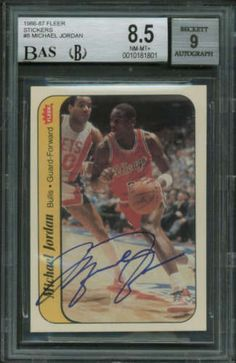 Michael Jordan Signed Autographed 1986 Fleer Sticker Card BGS 8.5 9 Auto