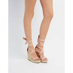 Charlotte Russe Ankle-Tie Espadrille Wedge Sandals ($39) ❤ liked on Polyvore featuring shoes, sandals, blush, ankle tie sandals, wedge heel sandals, ankle tie espadrilles, ankle wrap espadrille and wedge espadrilles