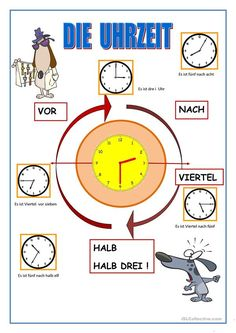 die Uhrzeit - Deutsch Daf Arbeitsblatter Math 2, German Words, Learn German, German Language, Primary School, Worksheets, Activities For Kids, Teaching, Education