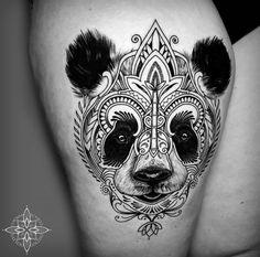 Stunning thigh piece with a mosaic mandala style panda face, done in black and grey. Trendy Tattoos, Love Tattoos, Beautiful Tattoos, Body Art Tattoos, Tattoos For Women, Tattoos For Guys, Tatoos, Mandala Tattoo Design, Design Tattoo