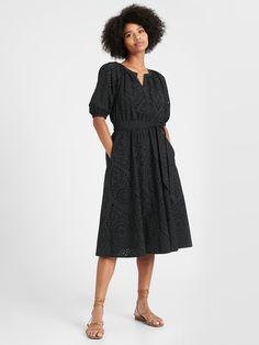 Cream Midi Dress, Petite Midi Dress, Eyelet Dress, Midi Dress Outfit, Jumpsuit Dress, Dress Skirt, Dress Up, Banana Republic Dress, Flare Skirt