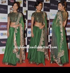 Wearing an Anand Kabra lehenga-sari with jewellery by Amrapali, Esha Gupta attended the Mirchi Music Awards.