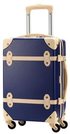 Ambassador® Luggage Vintage Series Retro Carry On 20'' Suitcase Spinner Indigo #Ambassador