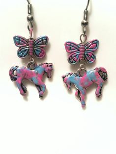Horse Earrings Butterfly Jewelry Country Girls by AbsoluteJewelry