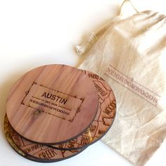 Great wooden coasters with the neighborhoods of Austin: Neighborwoods: Austin Coasters Set Of 4!