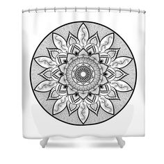 Mandalas Shower Curtain featuring the digital art Intricate Mandala - Zendala - Black And White by Sharon Norman