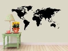 World map wall decal vinyl wall sticker decals home decor art cool world map vinyl wall decal interior design sticker by eyvaldecal 3800 gumiabroncs Choice Image