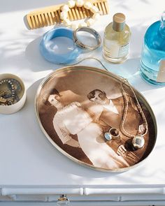 Heritage photo in glass-covered tray. A glazier would cut the glass to fit.