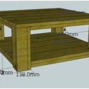 Deze 3D bouwtekening voor een tuintafel van steigerhout.