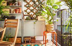 Kleine tuin inrichten met opbergers - ASKHOLMEN tuinset en HINDO opbergers