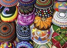 Original Photograph - Crocheted Kippot in Ben Yehuda Street. $27.00, via Etsy.