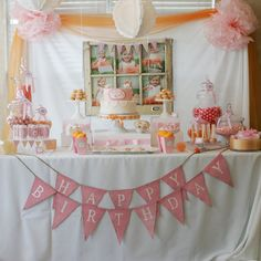 "Dessert Table: ""I love shabby-chic, vintage looks and kept getting drawn to that style,"" Johanna says. An array of sweet treats and a ""happy birthday"" bunting banner from Funkyshique are sweet, but we're especially loving the photo display of the birthday girl that ties the whole theme together.   Source: CN Photography"