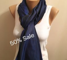 A personal favorite from my Etsy shop https://www.etsy.com/listing/260155758/50-sale-dark-blue-glossy-light-scarfblue