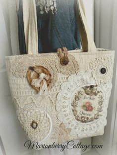 JUNKIN QUEEN Vintage crochet and lace jumbo tote purse - discount bags, suede tan clutch bag, mustard clutch bag *ad Patchwork Bags, Quilted Bag, Bag Quilt, Lace Bag, Diy Sac, Handmade Purses, Handmade Handbags, Fabric Bags, Crochet Purses