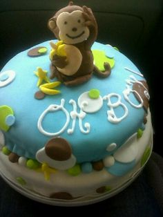 Monkey Boy Baby Shower Cake