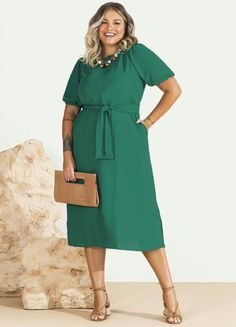 Camisa Formal, Ideias Fashion, Wrap Dress, Shirt Dress, Shirts, Dresses, Midi Dress With Sleeves, Plus Size Girls, Business Professional Dress
