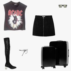AC/DC 1988 world tour T-shirt, $386, tradesy.com; Turnbull & Asser Larke Roark black sunglasses, $550, turnbullandasser.com;…
