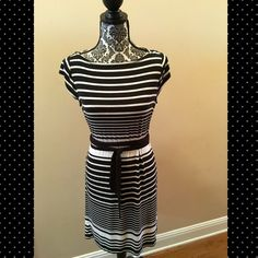 Ann Taylor LOFT Striped Dress Ann Taylor LOFT black and white striped dress.  Black wrap around belt.  Pullover, boat neck.  Rayon/Spandex.  Lots of stretch.  Very comfortable.  Great casual summer dress.  Excellent condition. LOFT Dresses