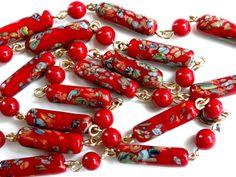 Retro Millefiori necklace. Japanese by JewelryOnVintageLane