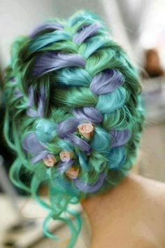 Green and purple braid with pink flowers