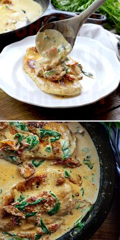 Low carb chicken in a creamy sauce with sun-dried tomatoes and spinach! Creamy Tuscan Chicken Buns In My Oven bunsinmyoven Delicious Food Creamy Tuscan Chicken! Low carb chicken in a creamy sa Crockpot Recipes, Cooking Recipes, Cooking Tips, Cooking Videos, Chef Recipes, Easy Cooking, Casserole Recipes, Chilis Copycat Recipes, Hamburger Steak Recipes
