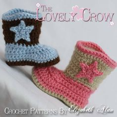 Crochet Pattern Cowboy Boots  for Baby BOOT by TheLovelyCrow, $5.95