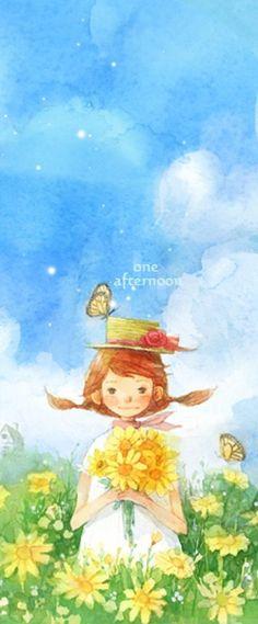 采花的下午。微风。Kim minji作品。【阿团丸子】
