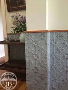 Pressed Tin Panels Original pattern installed as dining room dado wall feature - Kitchen Ideas - Tin Ceiling Tiles, Ceiling Panels, Metal Ceiling, Tin Walls, Metal Walls, Pressed Tin, Leather Wall, Half Walls, Wall Treatments