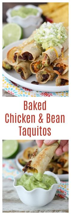 These Baked Chicken Taquitos are filled with chicken, beans, cheese and a spicy tomatillo avocado salsa. Baked and not fried, these crispy taquitos are the perfect weekday dinner.
