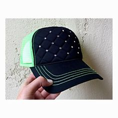 Neon green quilted trucker hat with bling Custom Made Hats, Neon Green, Bling, Etsy, Jewel