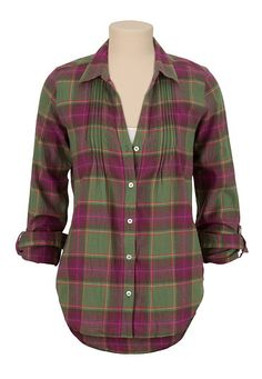 Pleat Front Plaid Flannel Button Down Shirt (original price, $29) available at #Maurices