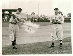 Ted Williams hitting grapefruits tossed by Red Sox Manager Joe Cronin. I would love to know the story behind this?