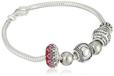 """CHARMED BEADS Sterling Silver Mother and Daughter Bead Charm Bracelet, 7.5"""""""