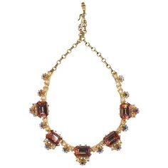 Preowned 1960s Elsa Schiaparelli Iridescent Pink Rhinestone Necklace (€1.050) ❤ liked on Polyvore featuring jewelry, necklaces, pink, clear crystal necklace, clear jewelry, rhinestone jewelry, rose necklace and iridescent rhinestone jewelry