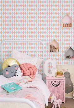 Self adhesive vinyl wallpaper, wall decal - diamond pattern print - 019 Peach/ Cupcake/ Polar blue