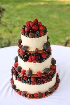 #WeddingCakes - A 'healthy' Wedding Cake heaped with fresh berries.