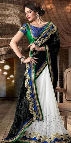 $104.20 Black and Net Faux Georgette Saree 20381 With Unstitched Blouse