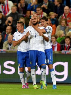 Simone Zaza of Italy #7 celebrates during the UEFA EURO 2016 qualifier match between Norway and Italy at Ullevaal Stadion on September 9, 2014 in Oslo, Norway.