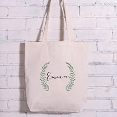 Personalized Green Branch Watercolor Calligraphy Name Bag
